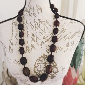 Brown Ribbon Natural Necklace